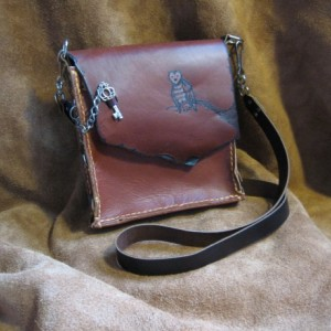 Rustic Owl Maple Brown Leather Purse Handmade