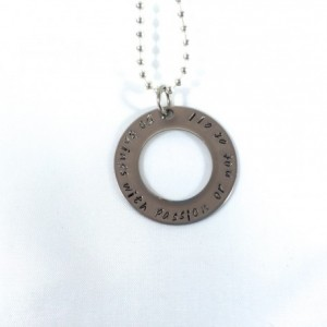 Passion Hand Stamped Stainless Steel Washer Necklace