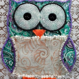 Bead Embroidered Owl // Green and Pink // Paisley // Mixed Media