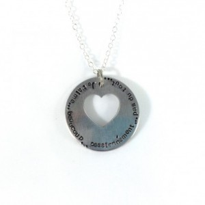 Je 'taime Hand Stamped Heart Washer Necklace