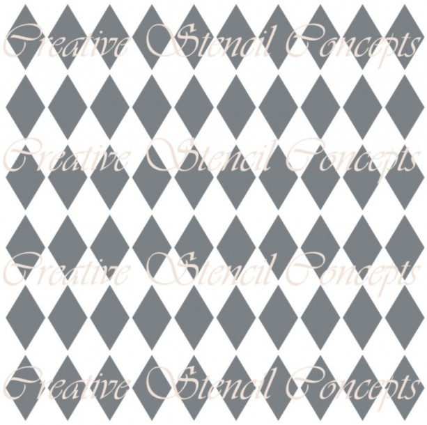Sharp Harlequin Diamonds Seamless Decorative Stencil MULTIPLE SIZES AVAILABLE on Industry Standard 12 Mil Mylar Design 105855599