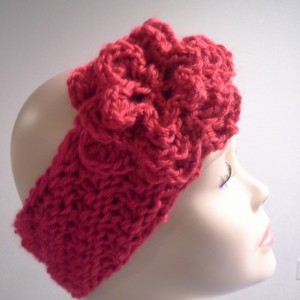 ONLY ONE Womans Winter Knitted Red Headband with Flower