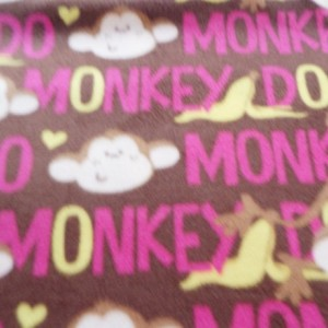 Fllece no sew hand tied double knotted fleece blankets Monkeys with Bananas