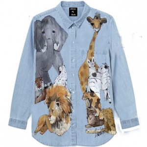 Safari Animals Hand Painted  Shirt Chambray, Cream S- XXL