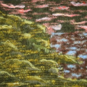 """Felted Abstract """"Sunset at the Lake"""" all in wool!"""
