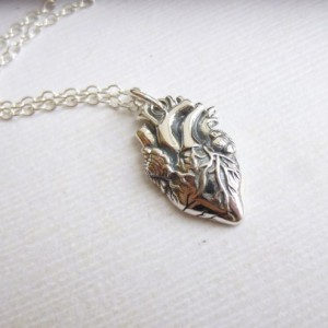 Sterling Silver Anatomical Heart Necklace... Steampunk Charm... Fairytale Love