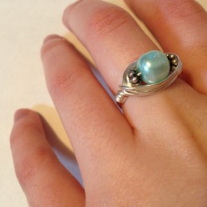 Blue Pearl Ring