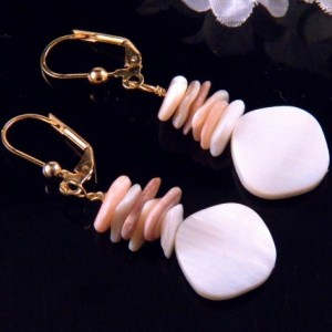 White Mother of Pearl Shell Stone Beads Earrings Dangling Handmade Costume Jewelry Made in Montana Free Shipping to USA Gift Box