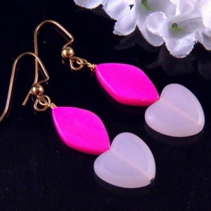 Pink Mother of Pearl Shell Glass Heart Bead Earrings Dangling Handmade Costume Jewelry Made in Montana Free Shipping to USA Gift Box