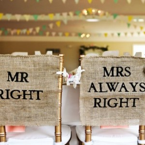 Burlap and Lace Mr. Right & Mrs. Always Right Wedding Chair Cover Sign