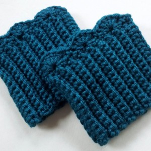 Women's Crochet Boot Cuffs, Teal Boot Toppers, Boot Socks, Leg Warmers, Ankle warmers, Textured and Stretchy