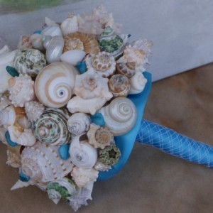 New Ocean Blue and Green  Seashell Bouquet / Beach Bouquet, Beach Wedding, Destination Wedding, Cruise Wedding, By the Sea Wedding Bouquet