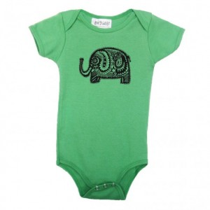 Green elephant baby onesie Cotton American Apparel one-piece bodysuit