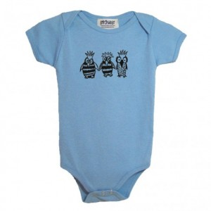 Blue owl baby onesie Cotton American Apparel one-piece bodysuit