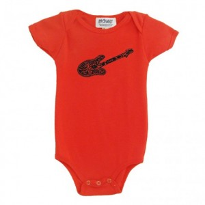 Organic guitar baby onesie Salmon color Cotton American Apparel one-piece bodysuit