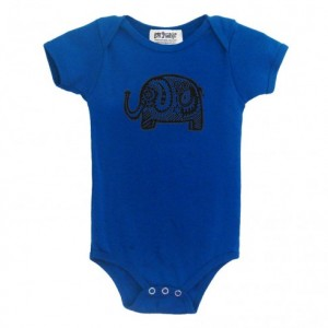 Organic elephant baby onesie Turquoise color Cotton American Apparel one-piece bodysuit
