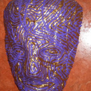 Purple and Gold  Mask by Anthony Saldivar - One of a kind wall art