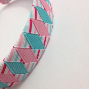 Pink, Blue Stripes Woven Headband - Handmade - Pink, Light Blue Stripe Grosgrain Ribbon Woven Braided Headband - 1 inch Braided Headband