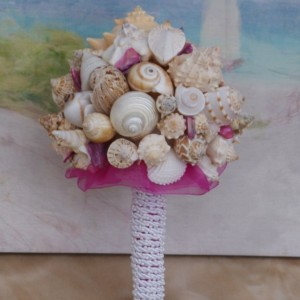 FUSCIA PINK  Seashell Bouquet / Beach Bouquet, Beach Wedding, Destination Wedding, Cruise Wedding, By the Sea Wedding Bouquet