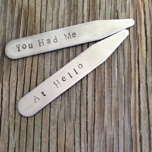 Hand stamped stainless steel collar stays personalized gift for him 2.5 inch medium