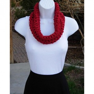 Women's Red SUMMER COWL SCARF, Solid Red Small Short Infinity Loop, Handmade Crochet Knit, Soft Lightweight Spring Neck Warmer..Ready to Ship in 2 Days
