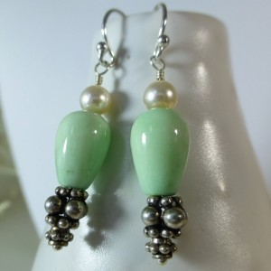 Mint green jade & Swarovski pearl dangle earrings,jade earrings,green earrings,drop earrings,green and white,cute earrings,silver earrings