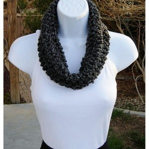SUMMER COWL SCARF, Black Gray Grey Tweed, Small Short Infinity Loop, Crochet Knit, Soft Lightweight Neck Warmer..Ready to Ship in 2 Days