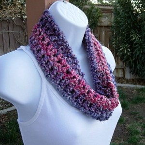 SUMMER COWL SCARF Bright Pink, Purple, Violet, Small Short Infinity Loop, Crochet Knit Lightweight Neck Warmer..Ready to Ship in 2 Days