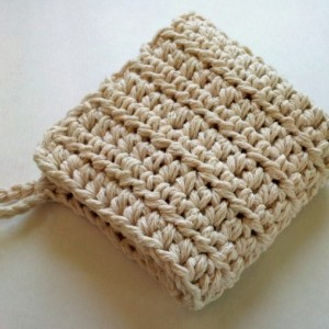 Thick wash cloth for oil cleansing or washing with a loop for hanging
