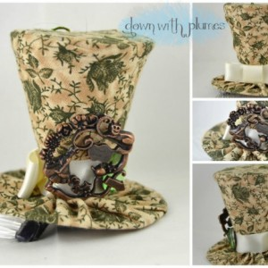 Tiny Top Hat- Tan mini top hat with green floral print- Alice in Wonderland themed hat- FREE SHIPPING- Handmade tiny top hat
