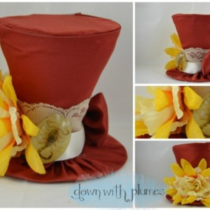Handmade Tiny Top Hat- Mini Top Hat- Dark orange tiny top hat with flower and scorpion- FREE SHIPPING