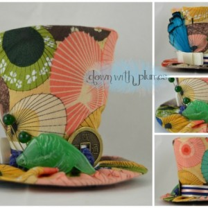 Tiny Top Hat- Parasol fabric- Mini top hat- Jade tiny top hat- One of a kind tiny top hat- FREE SHIPPING