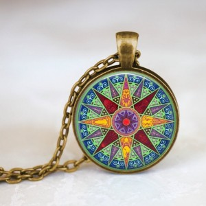 Compass Necklace - Glass Dome Pendant - 24 inch Necklace - Compass Star - Colorful Jewelry - Large Round Pendant