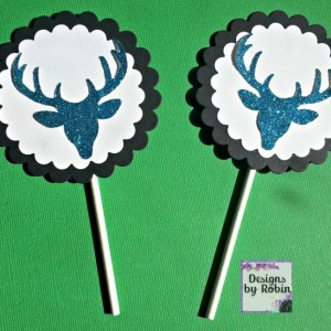 12  cupcake blue glitter deer head  cupcake toppers, white on black, glitter blue deer, boy or girl birthday party
