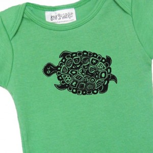Green turtle baby onesie Cotton American Apparel one-piece bodysuit