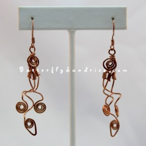 Tangled Three Vine Earrings - Tendrils of the Vine Collection - Available in Copper or Brass