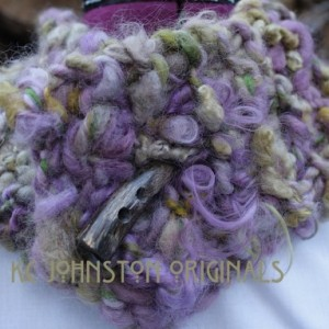 Hand Knit Chunky Cowl// handspun//handyed//mohair & wool with wooden button//FREE lotion bar with this purchase!