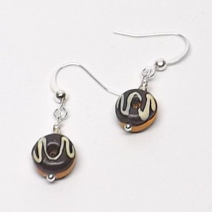 Ceramic chocolate frosted donuts  with vanilla drizzle pierced dangle hand made earrings