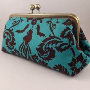 Wonderland Whimsy Teal Damask Clutch
