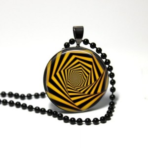 Optical Illusion - Black Yellow Pendant - 24 inch Necklace - Weird Jewelry - Handmade Necklace