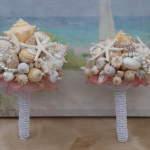 6 Piece Package Seashell Bouquet  Davids Bridal Pool Blue/ Ocean Bouquet/  Destination Bouquet/  Summer Bouquet/ Beach Bouquet Made to Order