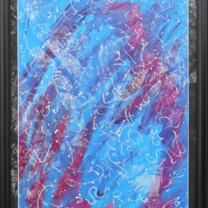 Dreams Abstract Modern Art Acrylic Painting ORIGINAL Framed & Matted 22x28 Blue