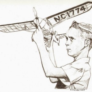 Original model airplane, nostalgic, boy, 1950's drawing