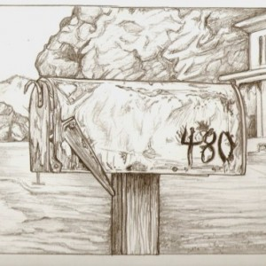 Original mailbox, car, house drawing