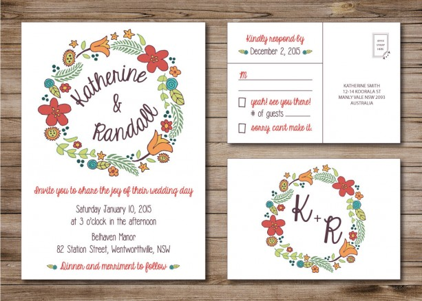 Wedding Invitations With Rsvp Postcards: Modern Wedding Invitation And RSVP Postcard- Custom Design