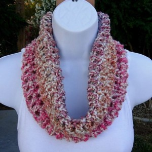 SUMMER COWL SCARF White, Pink, Blue, Orange Striped Handmade Small Short Infinity Loop Soft Crochet Knit, Neck Warmer..Ready to Ship in 3 Days