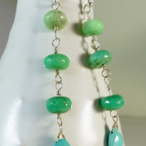 Ombre green chrysoprase & turquoise gemstone drop earrings. green and blue earrings, ombre earrings. BOHO, something blue, sara nolte design