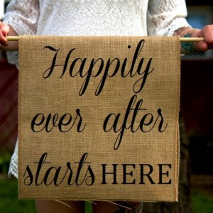 Burlap Happily Ever After Ring Bearer Sign - Rustic Ceremony Banner