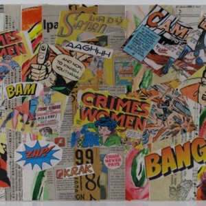 Original Handmade Collage, Crimes by Women, Vintage Comics Collage, 11x14in