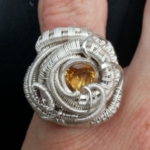 Beautiful Handmade Ring, Citrine Facet with Red Spinel Wire Wrapped Wring. Size 5